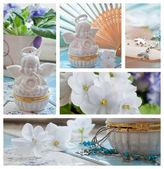 Viooltjes en engelen decoraties collage — Stockfoto