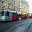 City red trams background - Zdjęcie stockowe