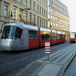City red trams background - Stockfoto
