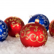 Five christmas balls with pattern — Stock Photo #14722287