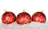 Three red christmas balls with pattern — Stok fotoğraf