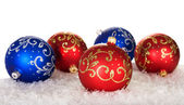 Five christmas balls with pattern — Stock Photo