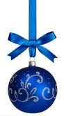 Blue christmas ball hanging — Stock Photo