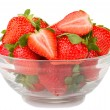 Stock Photo: Glass bowl with fresh strawberries