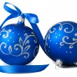 Blue christmas balls — Stock Photo