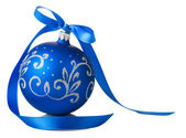 Blue christmas ball with ribbon bow — Stock Photo