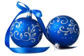 Blue christmas balls — Stock Photo