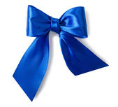 Blue satin gift bow — Stock Photo