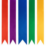 Collection of five different color ribbons — Stock Photo