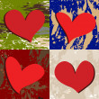 Set of four Valentine hearts - Stockfoto