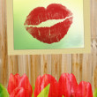Valentines Day Background with tulips - Stock Photo
