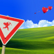 Cupid road sign — Stock Photo