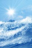 Splash of water with sunrays  — Foto de Stock