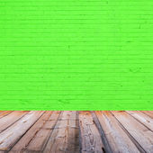 Room interior with green brick wall background — Stock Photo