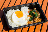 Thai spicy food with egg on table — Photo