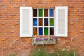 Open Window With On red brick Wall — Stock Photo