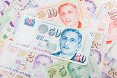 Singapur peníze na bílém pozadí — Stock fotografie