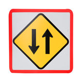 Two way traffic sign on white — Stock Photo