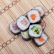 Stock Photo: Closeup sushi roll on bamboo mat