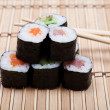 Set sushi on bamboo mat — Stock Photo