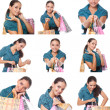 Collage of images young shoppers woman — Foto Stock