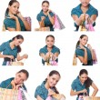 Collage of images young shoppers woman — Stock Photo