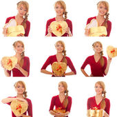 Collage of images young woman with gold gift box — Stock Photo