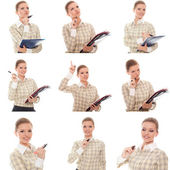 Collage of images woman office manager with phone — Stock Photo