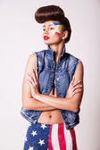 Model with bright makeup — Stockfoto