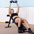 Woman training for muscle of chest — 图库照片