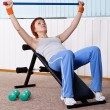 Woman training for muscle of chest — Stock Photo