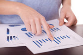Female hands and business document — Stock Photo
