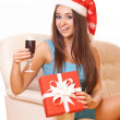 Happy christmas girl with wineglass — Stock Photo