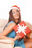 Noel noel baba şapkalı kız — Stok fotoğraf
