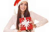 Beautiful girl in christmas hat — Stock Photo