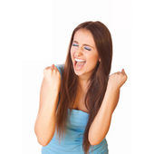Very excited woman clenched fists — Stock Photo