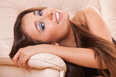 Closeup smiling woman — Stock Photo
