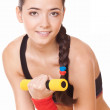 Woman doing fitness exercises — Stock Photo