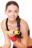 Mulher fazendo exercícios de fitness — Foto Stock