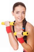 Mujer haciendo ejercicios para bíceps — Foto de Stock