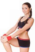 Спортивный женщина, делать упражнения, Фитнес — Стоковое фото