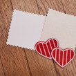 Two empty papers with red hearts — Stockfoto