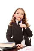 Little girl as thoughtful business woman — Stock Photo