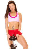 Fitness woman with dumbbells — Stock Photo