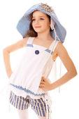 Girl in beach hat — Stock Photo