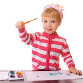 Little girl draws paints — Stockfoto