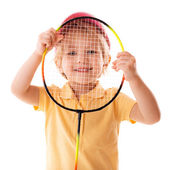 Little girl plays with racket — Stock Photo