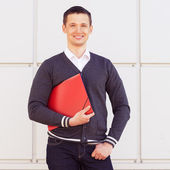 Businessman with folders documents — Stock Photo