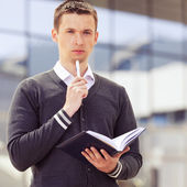 Men hands with pen and business document — Stock Photo