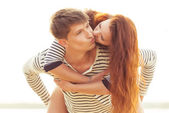 Kissing lovely couple — Stock Photo